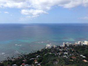 ハワイの海ダイヤモンドヘッドから
